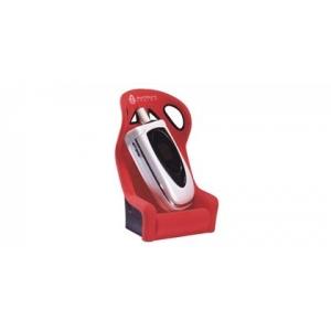 Schalensitz als Telefonhalter rot