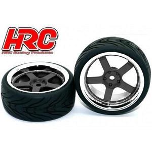 Reifen mit Chromfelgen schwarz 26mm